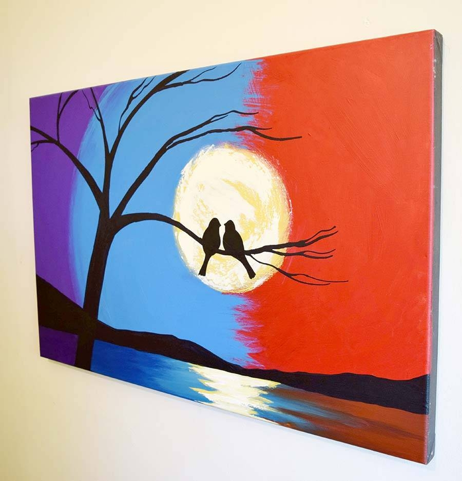 Abstract Landscape Art Bird On A Wire Modern Painting Within 2017 Triptych Art For Sale (View 17 of 20)