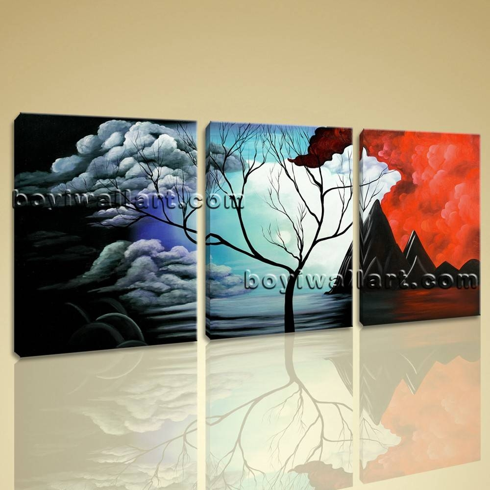 Abstract Landscape Painting Print On Canvas Original Wall Art Framed Throughout Recent Oversized Abstract Wall Art (View 4 of 20)
