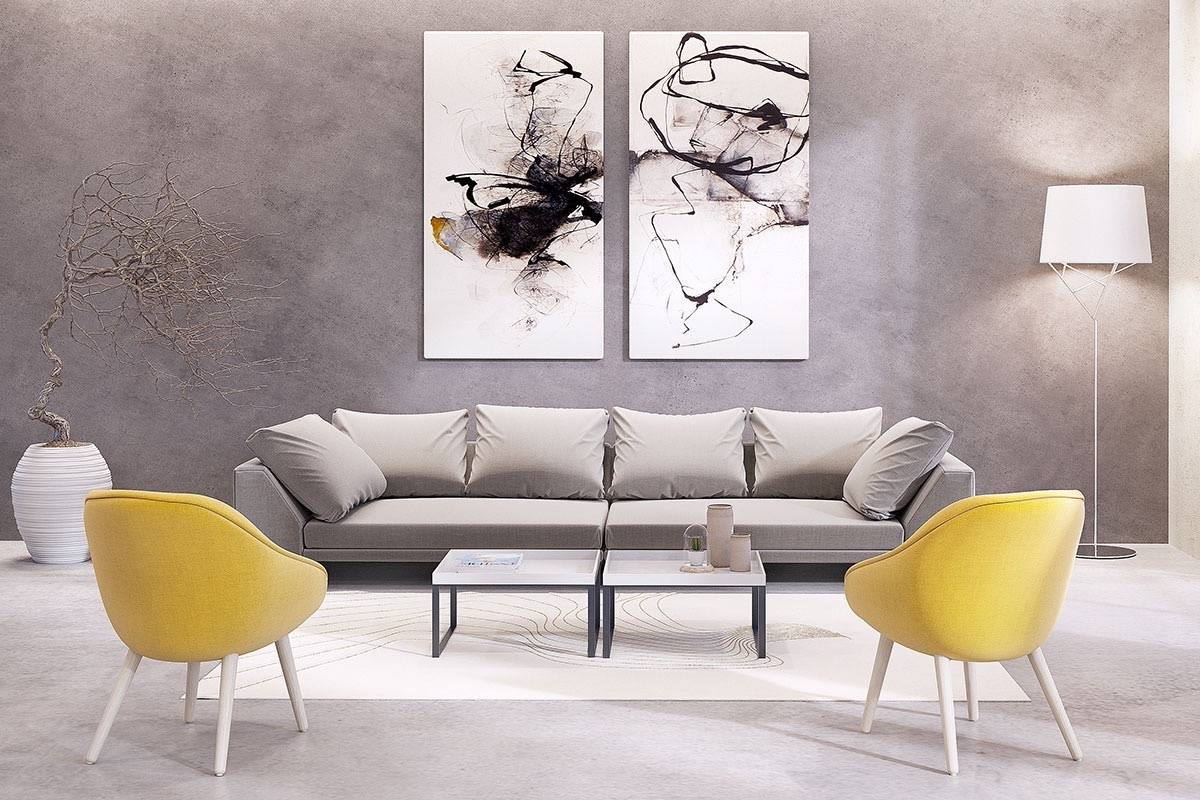 Abstract Matching Set Wall Art Floor Lamp Yellow Armchair Gray In Newest Matching Wall Art Set (View 5 of 15)
