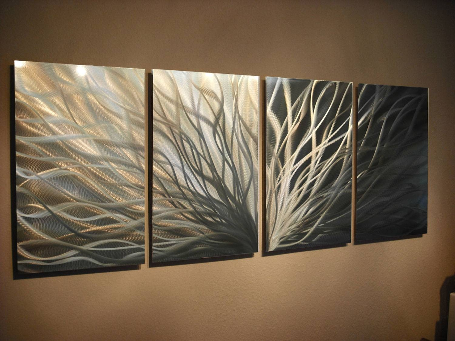 Abstract Metal Wall Art  Radiance Gold Silver  Contemporary Modern Inside Most Popular Silver And Gold Wall Art (View 1 of 15)