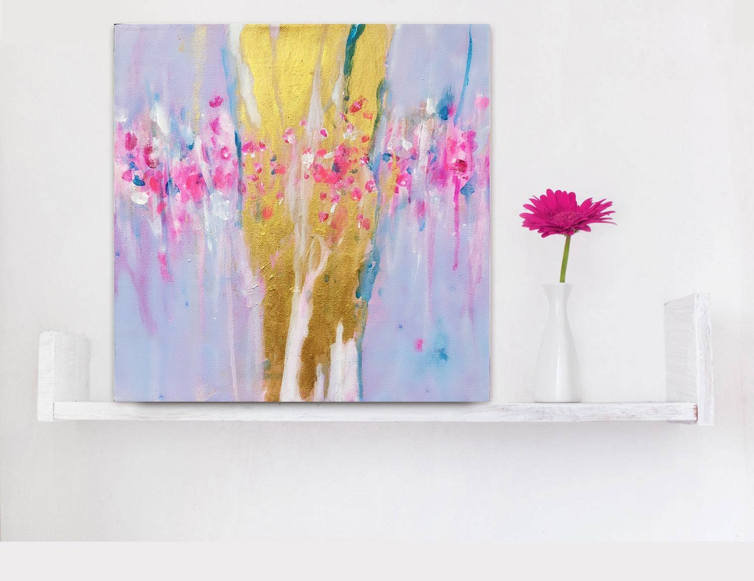 Abstract Painting Gold Pink Abstract Art Small Canvas 12x12 Inside Latest Small Canvas Wall Art (View 11 of 20)