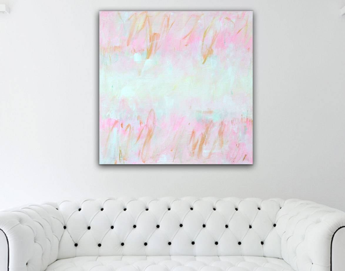 Abstract Painting Pink Gold Abstract Art Pink Gold Painting With Most Recent Nursery Canvas Art (View 2 of 20)