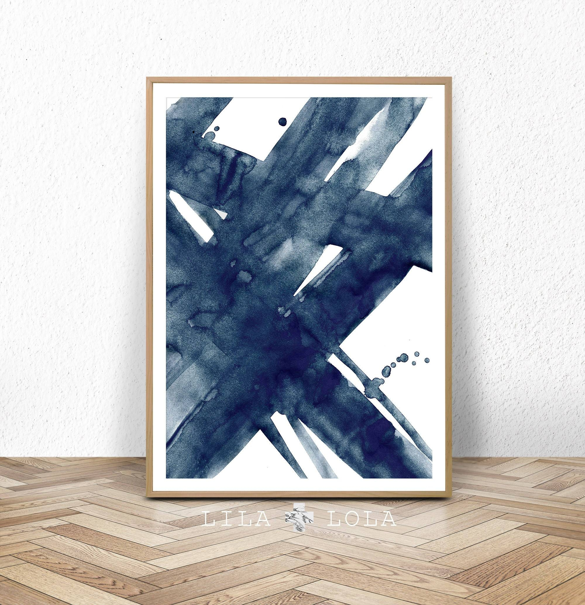 Abstract Print Watercolour Wall Art Modern Minimalist Intended For 2017 Dark Blue Wall Art (View 2 of 20)