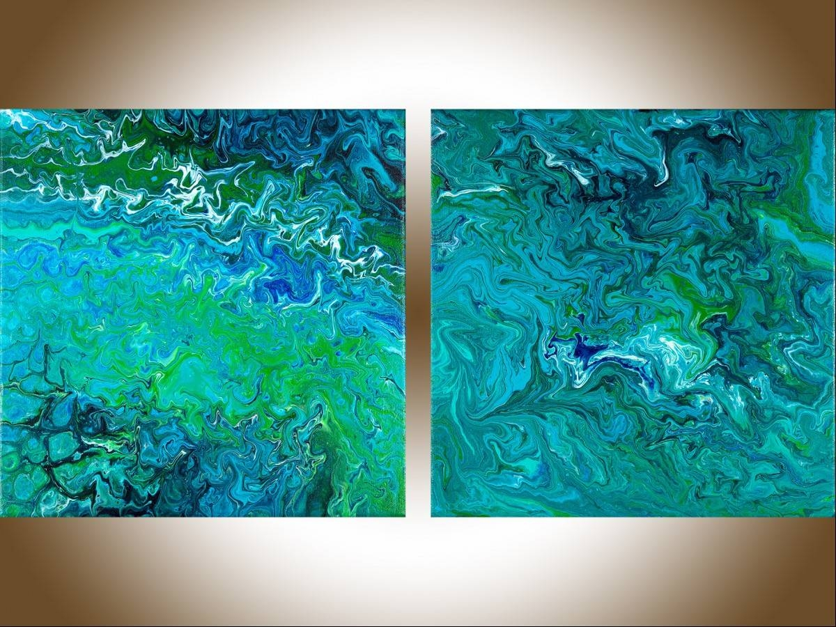 Abstract Wall Art Wall Paintings Acrylic Oil Painting For Sale With Latest Blue And Green Wall Art (View 2 of 20)