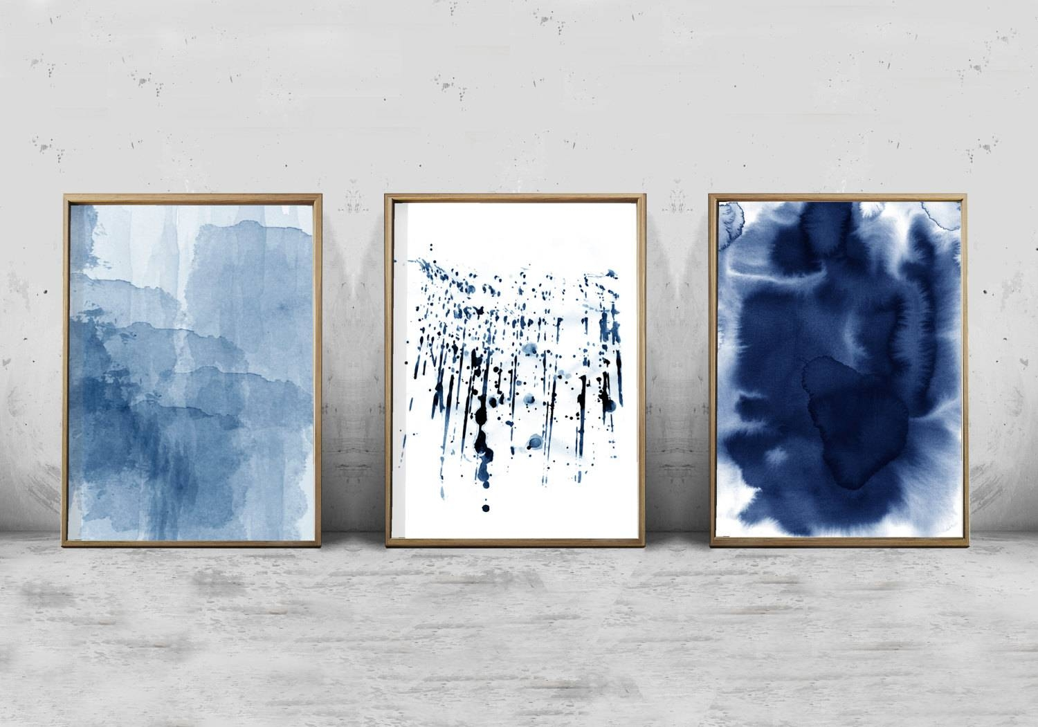 Abstract Watercolor Set Minimalist Art Navy Blue Wall Art Intended For Most Popular Navy Blue Wall Art (View 5 of 20)
