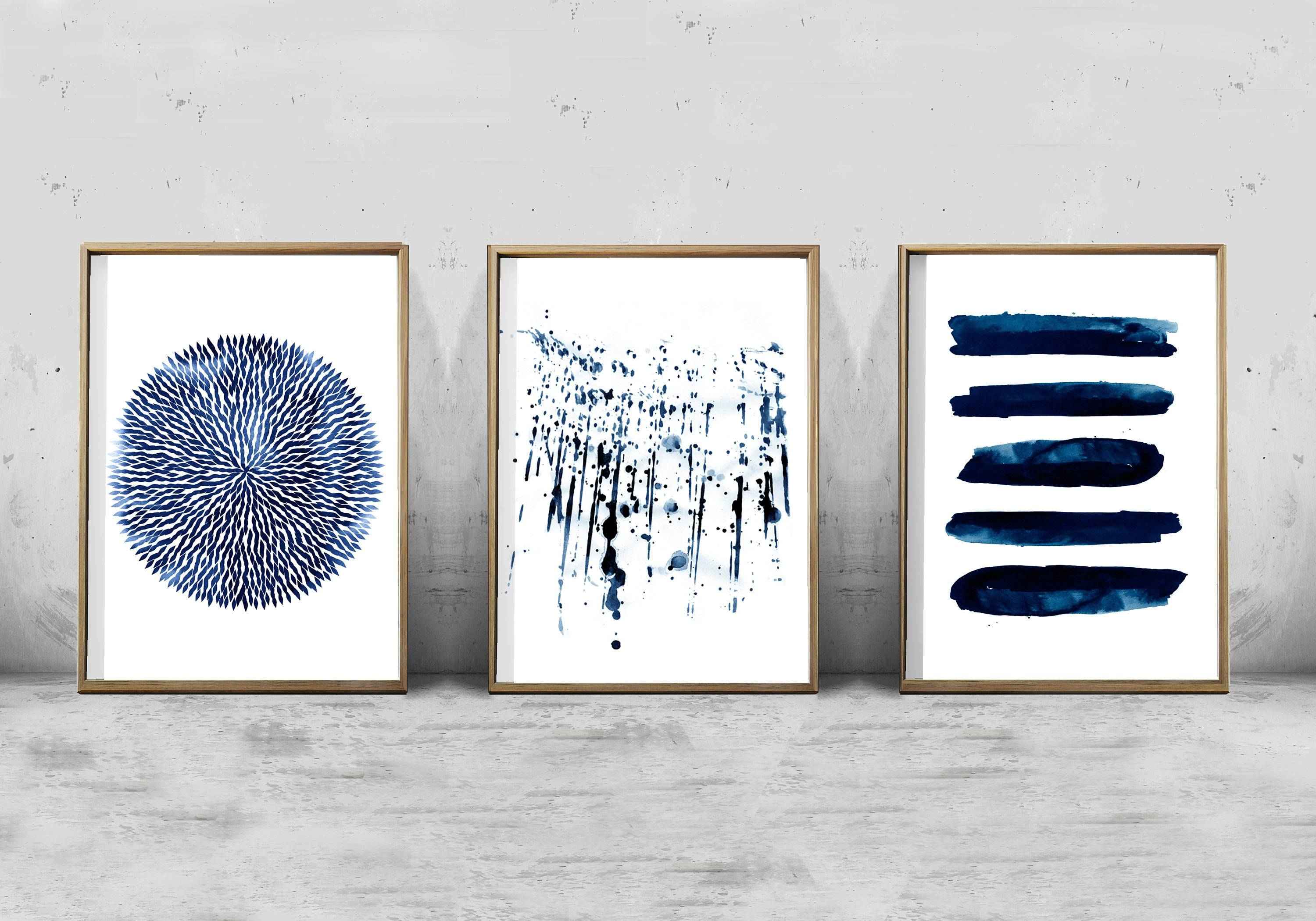 Abstract Watercolor Set Minimalist Art Navy Blue Wall Art With Regard To Best And Newest Navy Blue Wall Art (View 15 of 20)