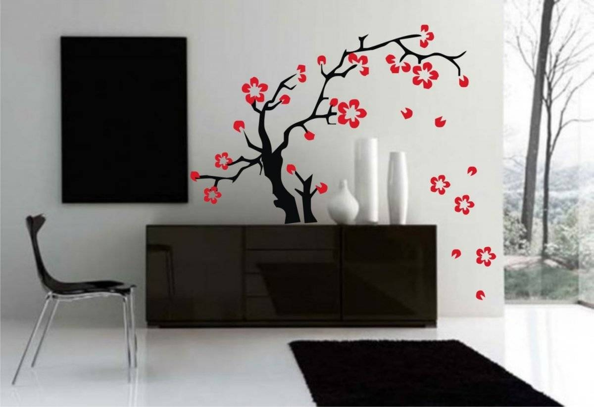 Accessories: Good Looking Wall Decorating Design Ideas Using Red Regarding 2018 Red Cherry Blossom Wall Art (View 7 of 30)