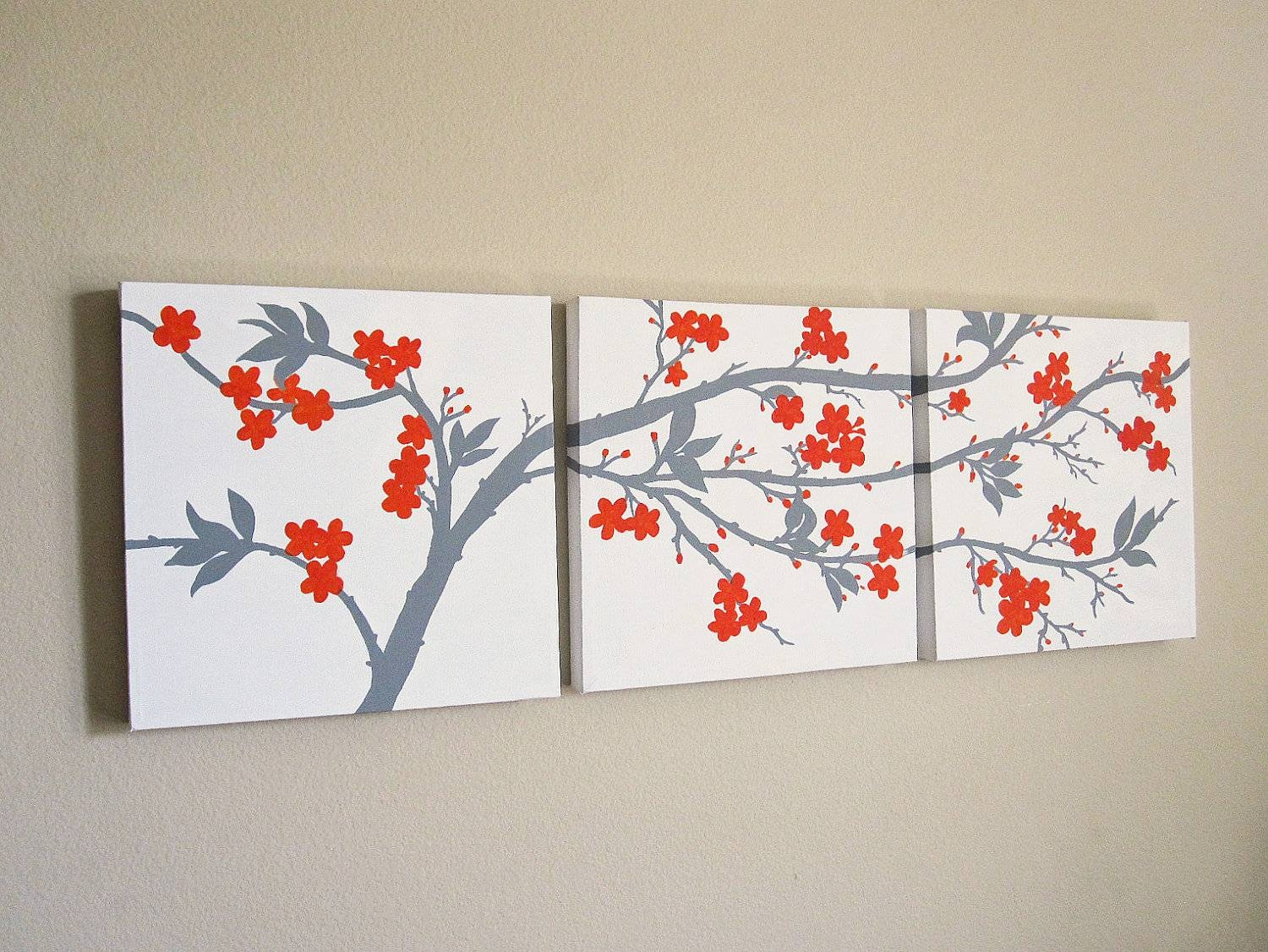Accessories: Good Looking Wall Decorating Design Ideas Using Red With Most Recently Released Red Cherry Blossom Wall Art (View 2 of 30)