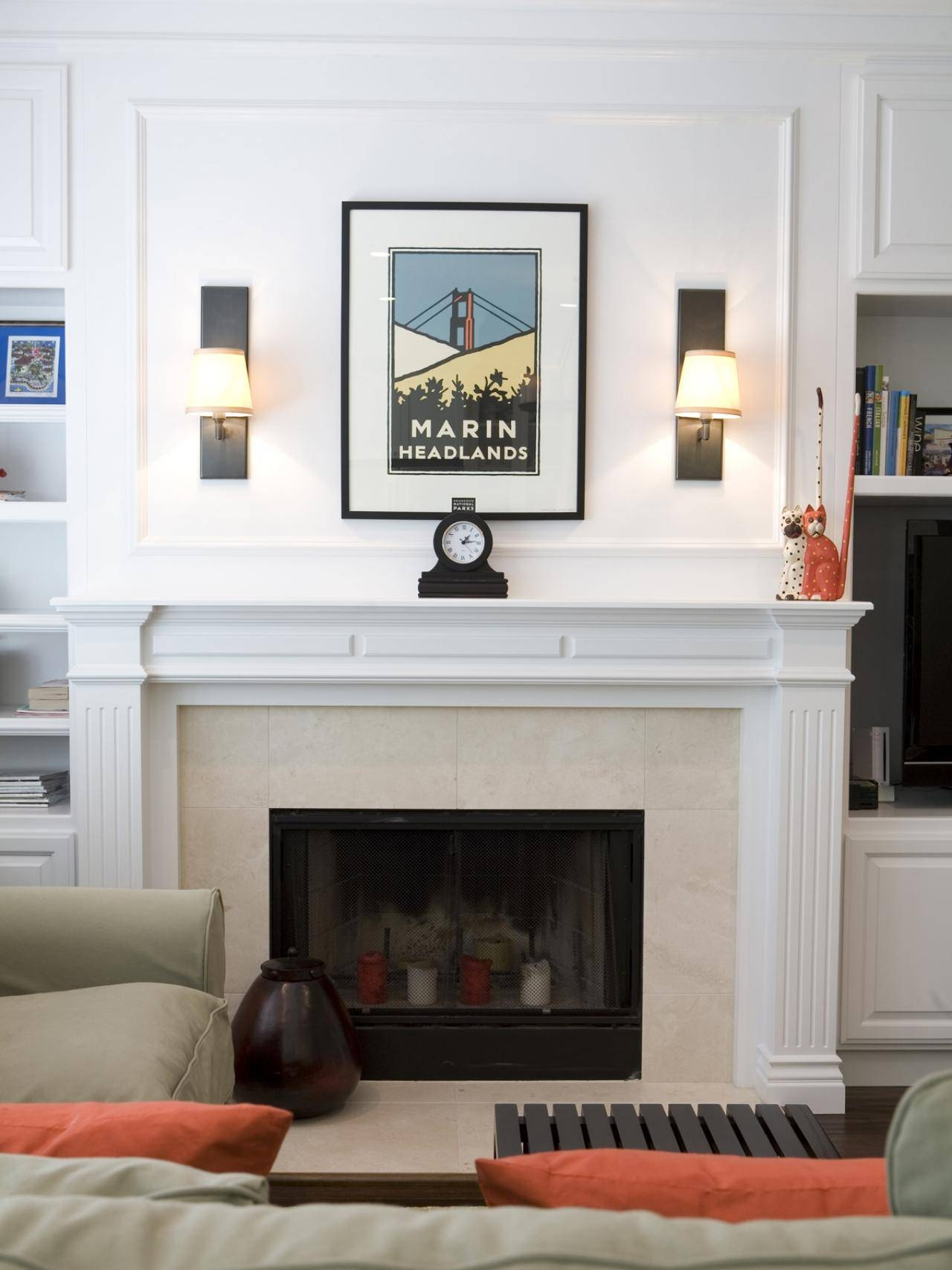 Accessories: White Fireplace Mantel And Fireplace Sconces Plus With Latest Fireplace Wall Art (View 12 of 20)