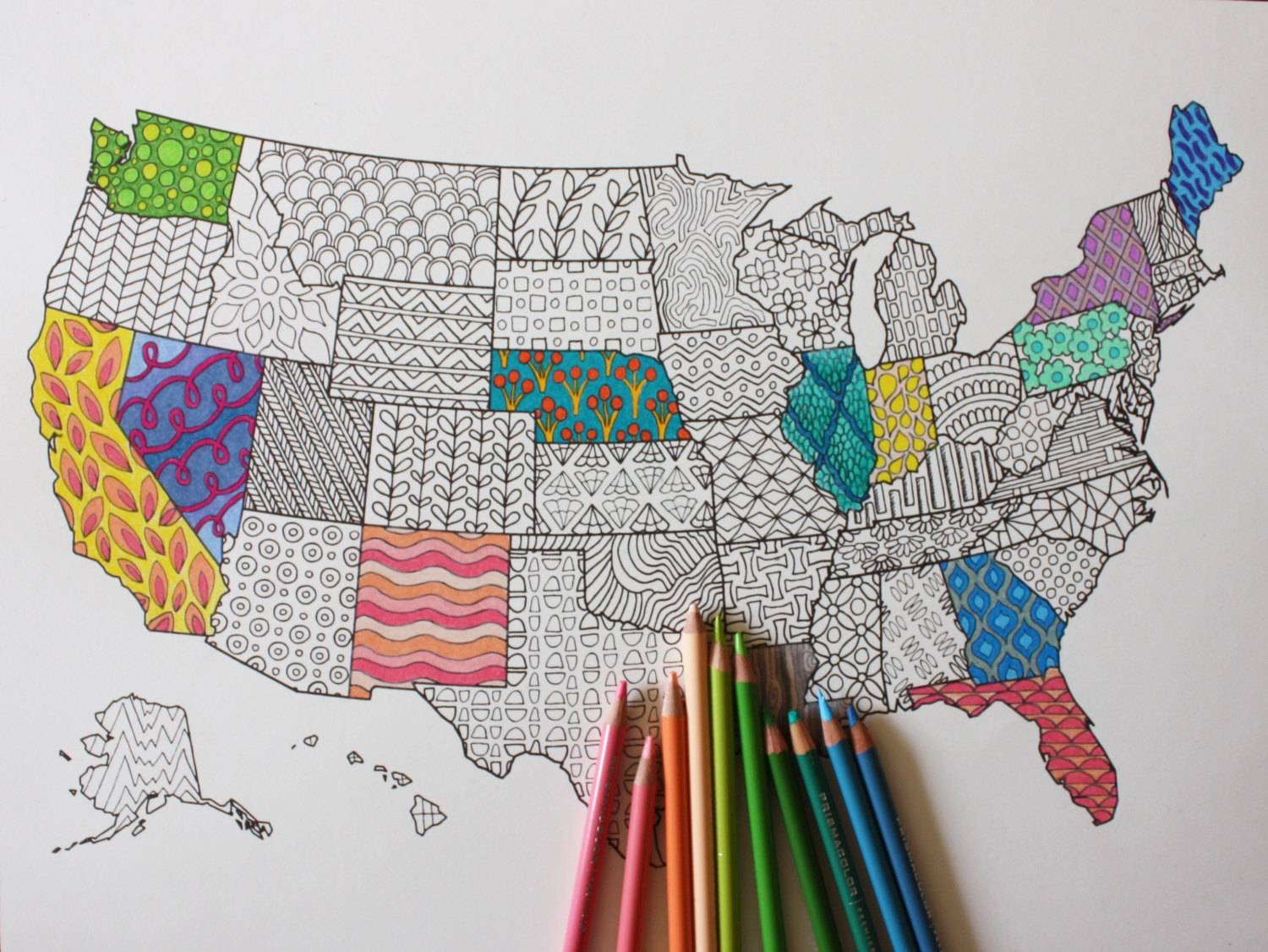 Adult Coloring Poster United States Map // Adult Coloring // With Best And Newest United States Map Wall Art (View 16 of 20)