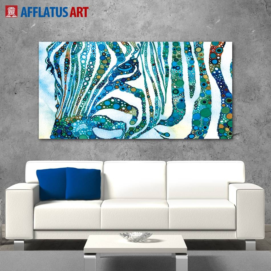 Afflatus Abstract Canvas Painting Nordic Watercolor Zebra Wall Art For Newest Zebra Wall Art Canvas (View 3 of 25)