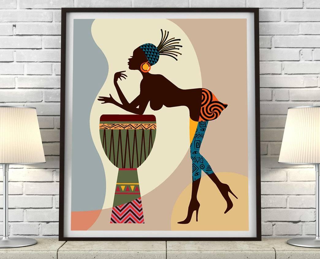 African American Art, African Wall Art Decor, African Woman In Most Popular African American Wall Art (View 1 of 20)