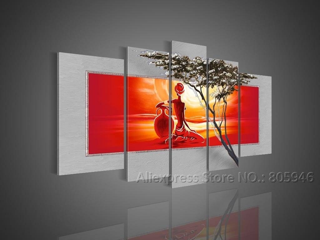 African Art Modern Wall Decor Landscape Oil Painting Canvas Framed Throughout Latest Cool Modern Wall Art (View 2 of 24)