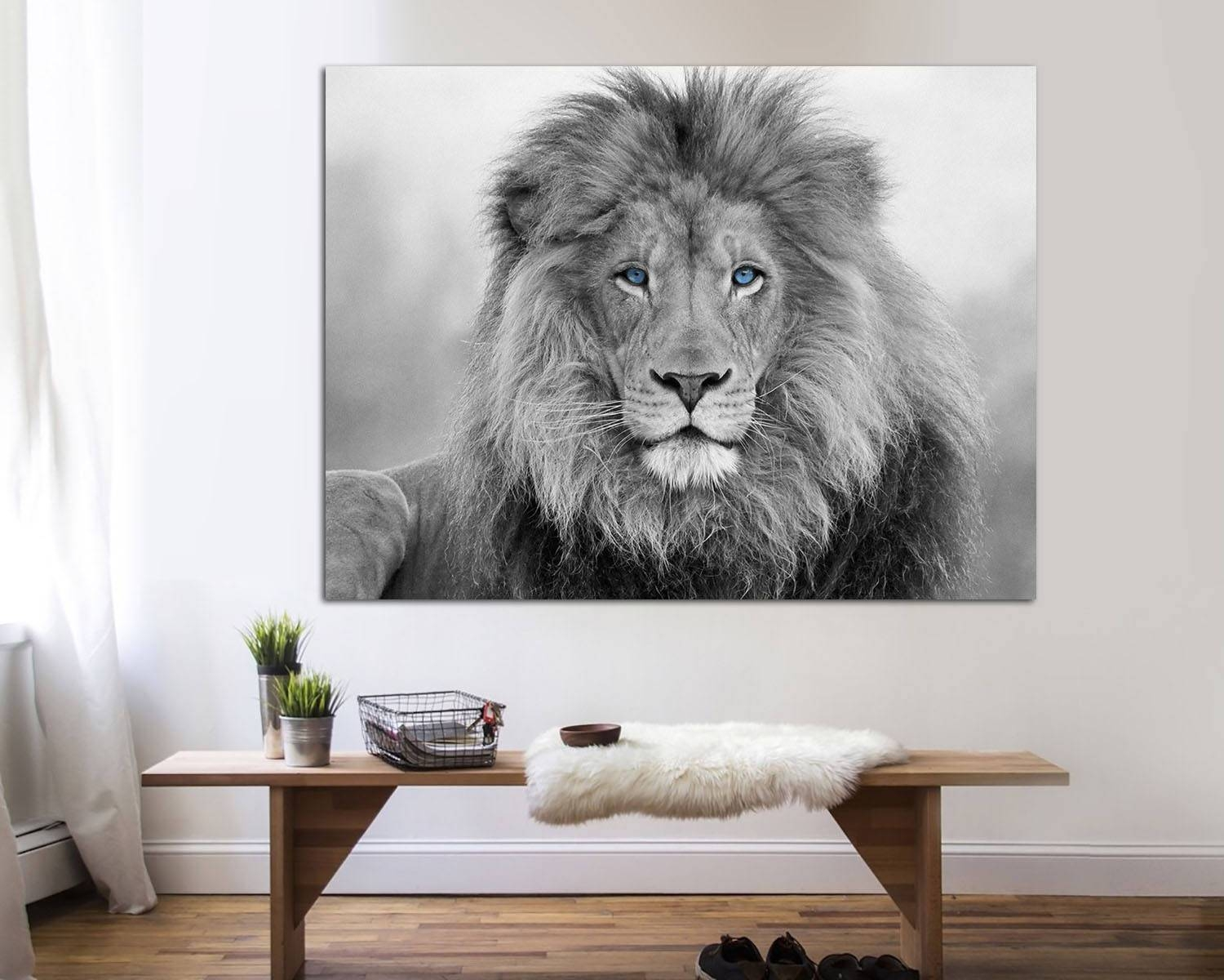 African Lion Black And White Lion Print Canvas Print (View 3 of 20)