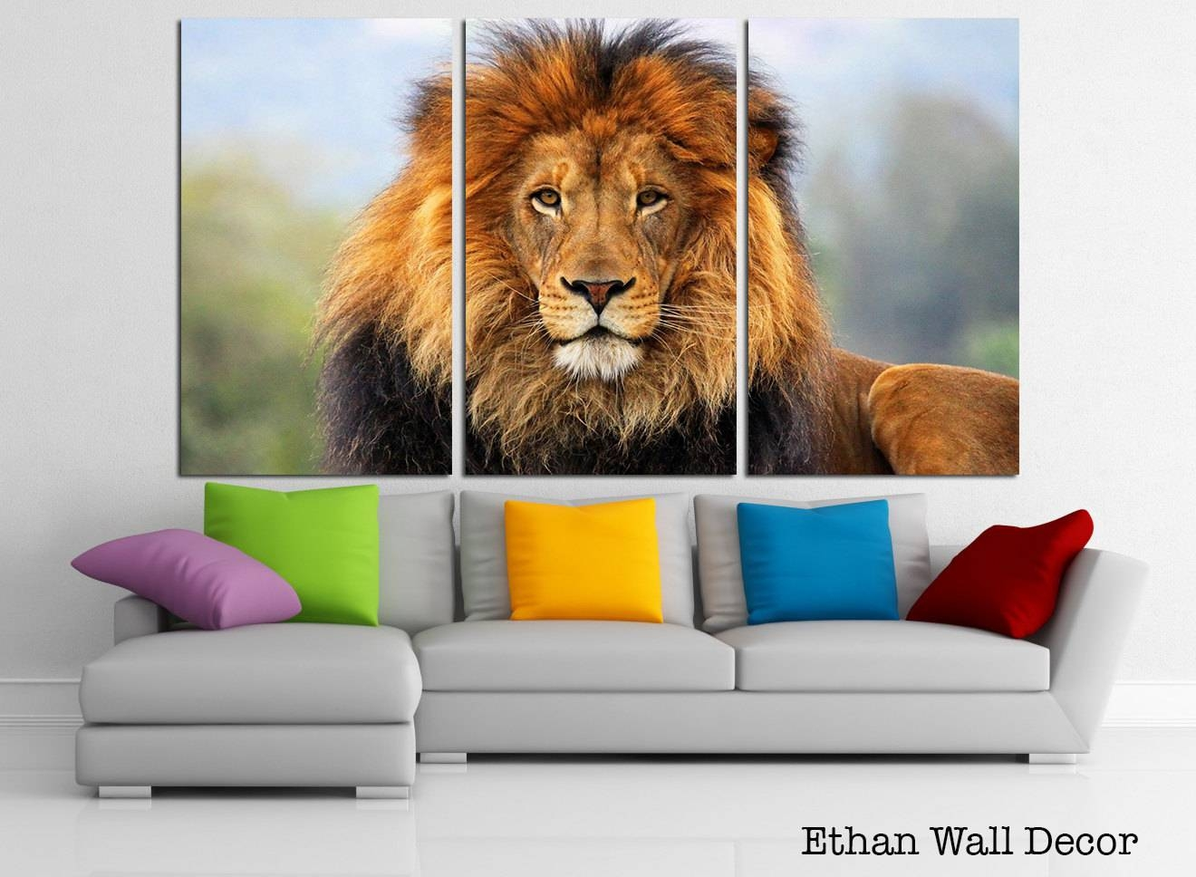 African Lion Wall Art Canvas Wild Life Hunting Canvas Art Regarding Latest Lion Wall Art (View 6 of 20)