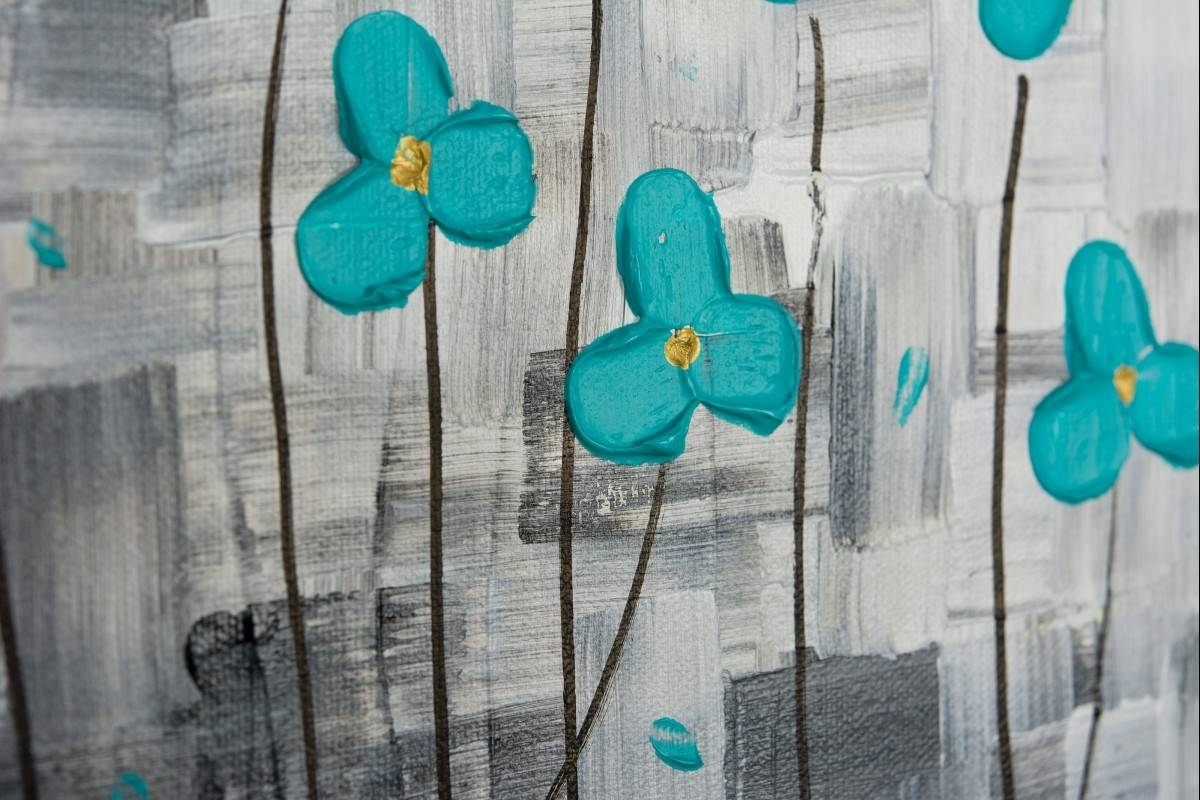 "After The Rainqiqigallery 36"" X 12"" Original Modern Abstract Within Newest Teal Flower Canvas Wall Art (View 5 of 20)"