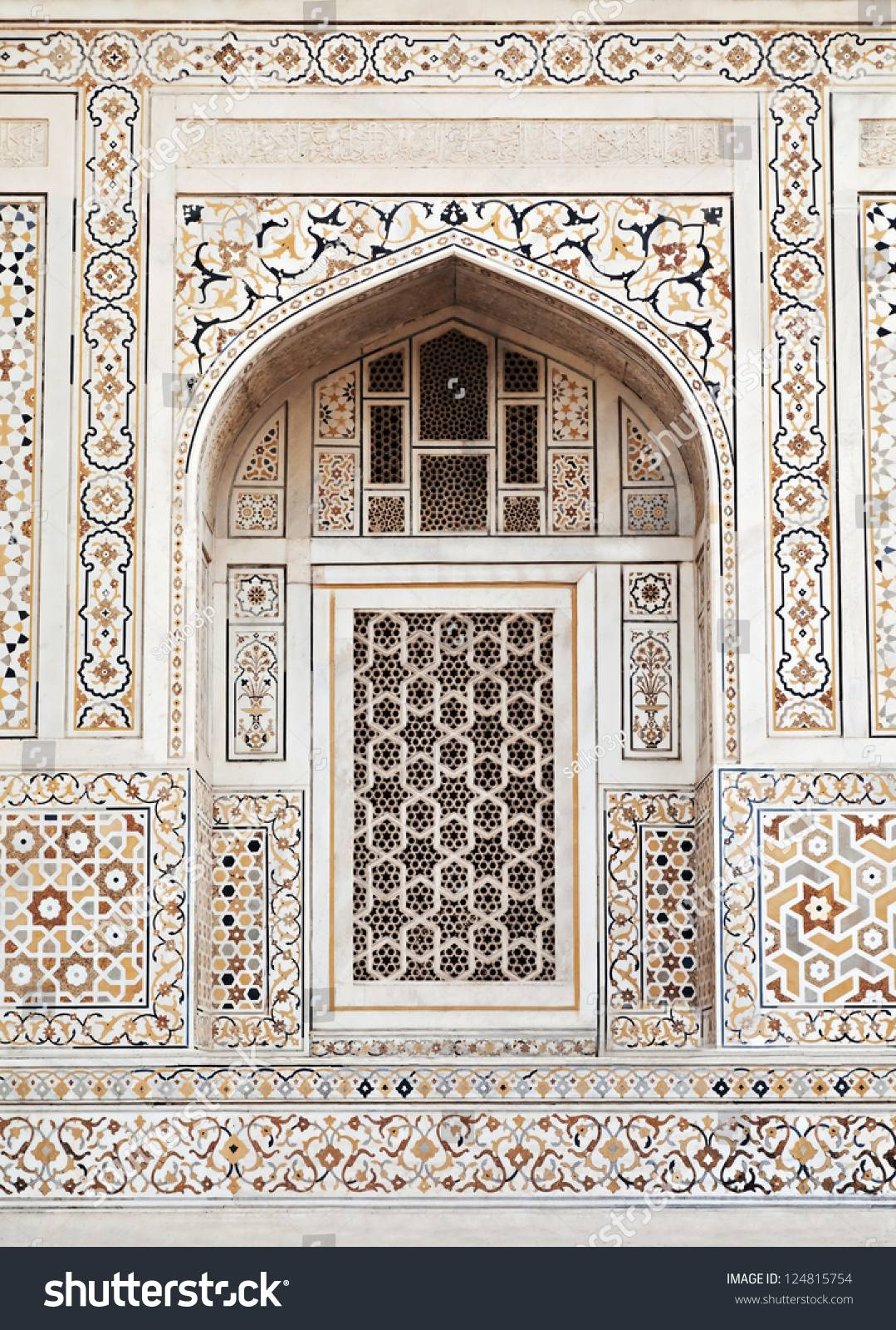 Agra India April 09 Pattern On Stock Photo 124815754 – Shutterstock Throughout Most Up To Date Taj Mahal Wall Art (View 4 of 25)