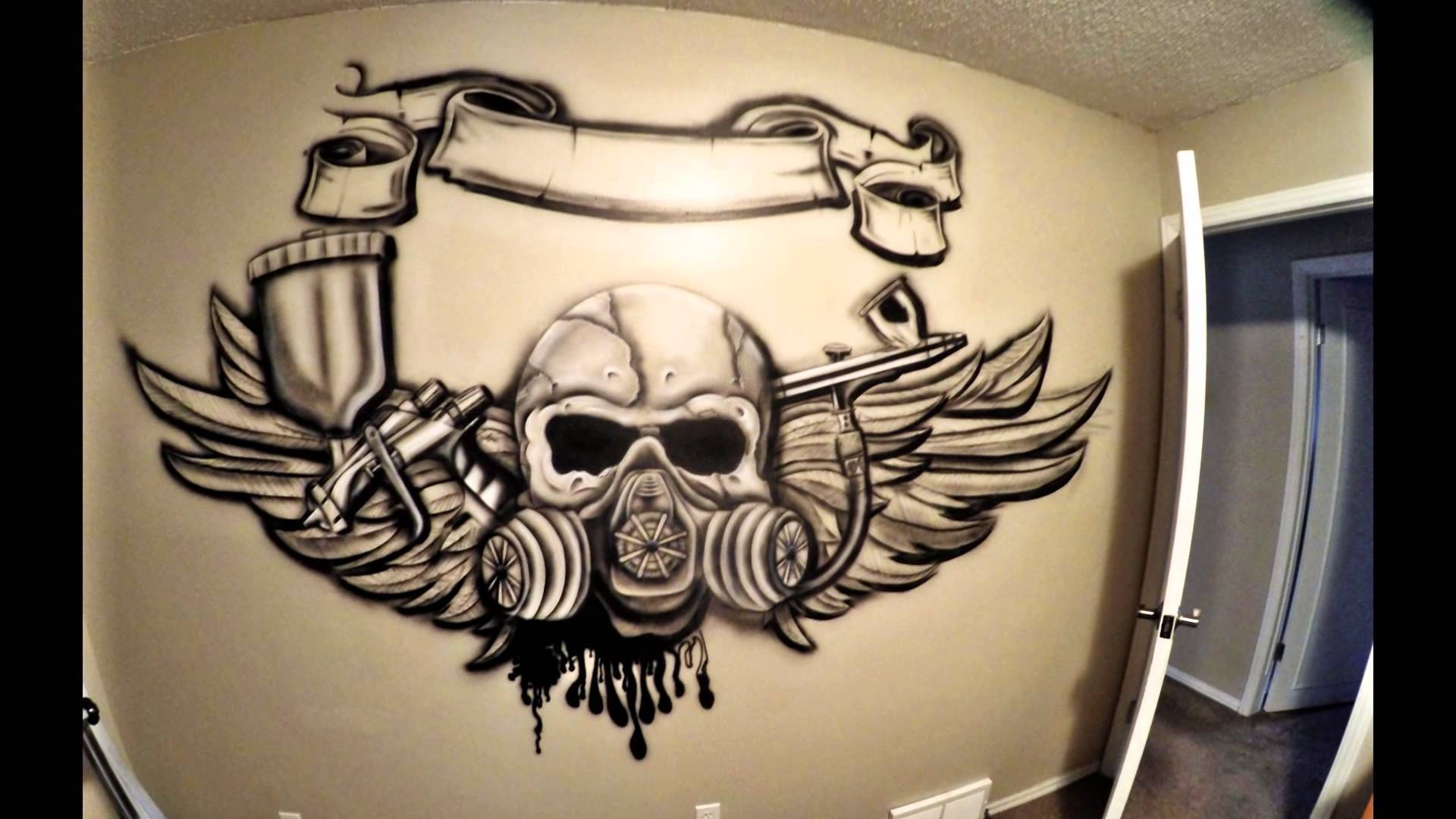 Airbrush My Bedroom Wall – Youtube For Latest Airbrush Wall Art (View 3 of 20)