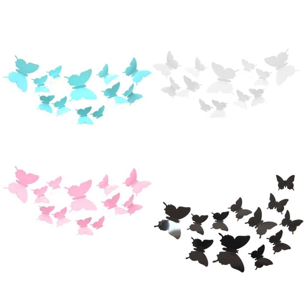 Aliexpress : Buy 12 Pcs/lot Butterflies 3D Wall Stickers Art With Regard To Current Diy 3D Wall Art Butterflies (View 5 of 20)
