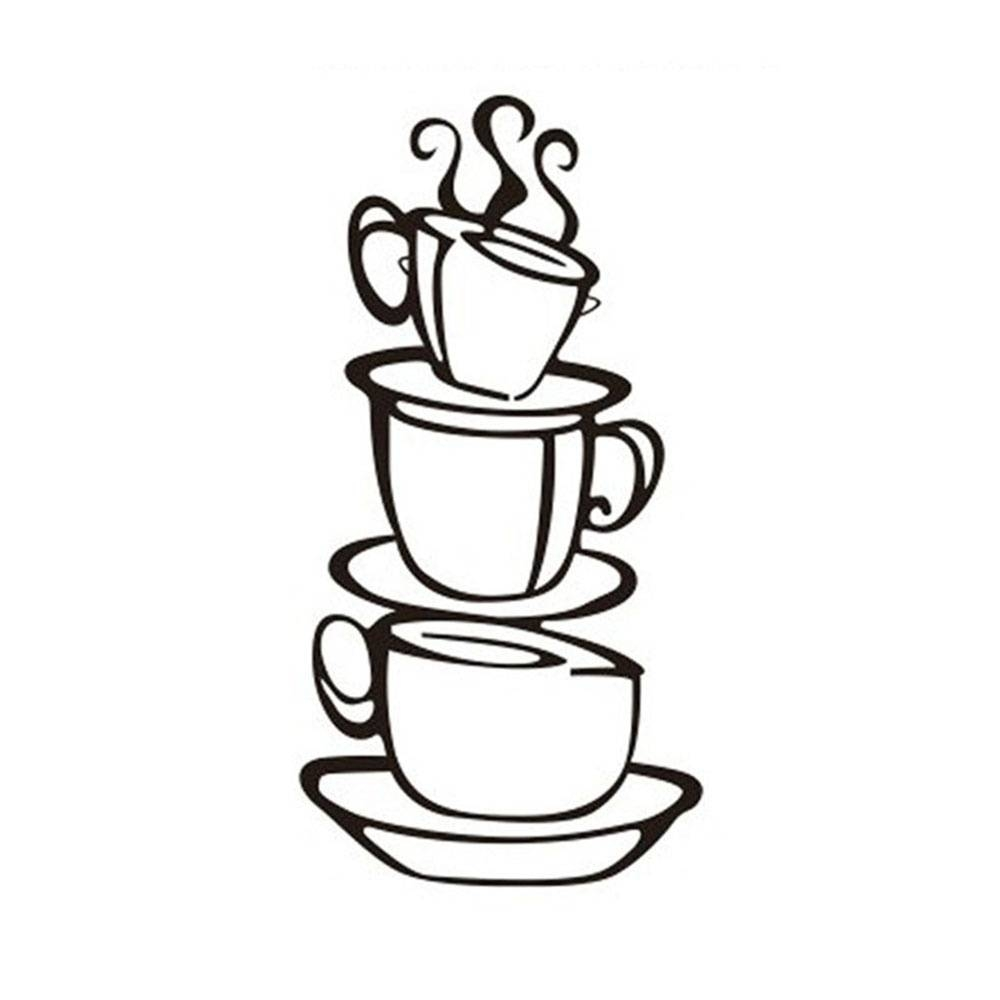 Aliexpress : Buy 2 Pcs Beautiful Removable Coffee House Cup Throughout Latest Metal Coffee Cup Wall Art (View 15 of 20)