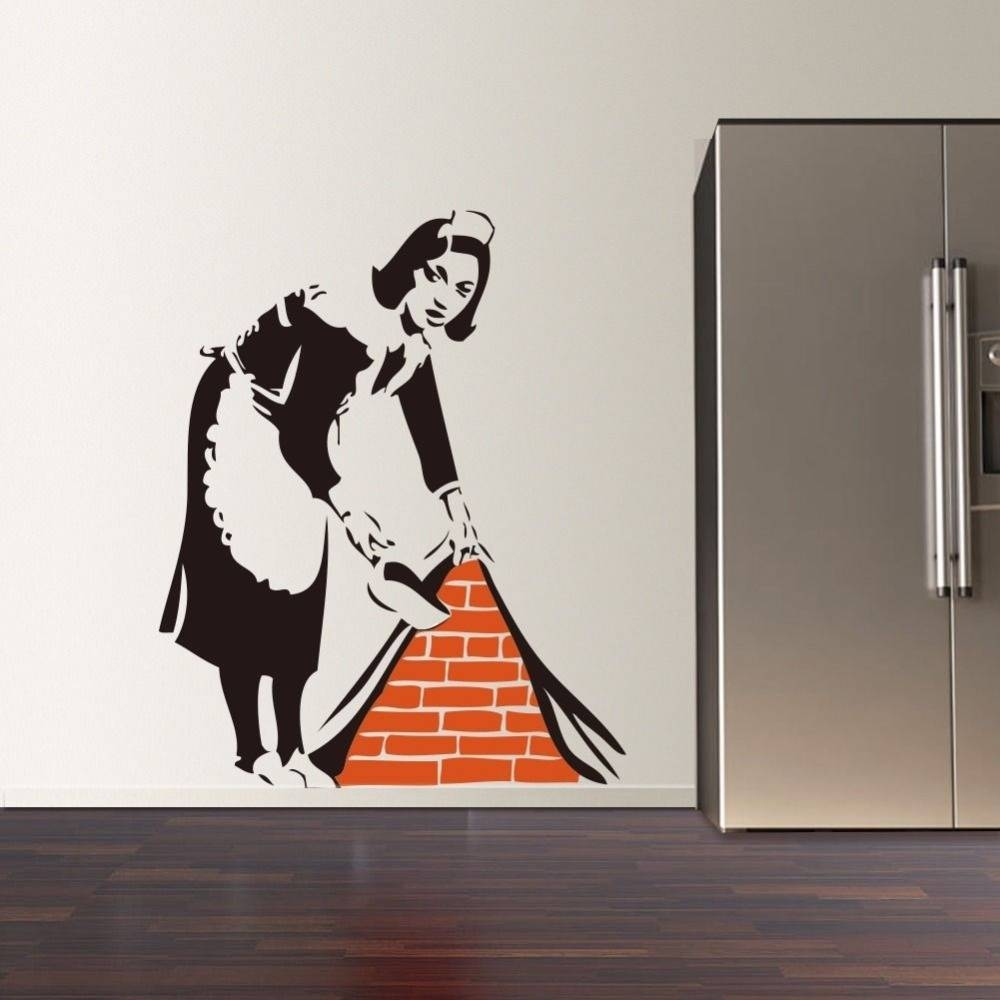 Aliexpress : Buy 2016 New Banksy French Maid Vinyl Wall Decal For Most Recently Released Graffiti Wall Art Stickers (View 2 of 30)