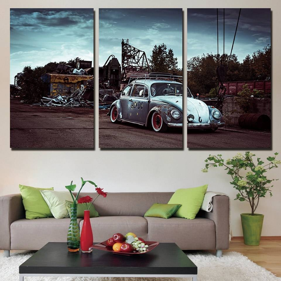 Aliexpress : Buy 3 Panels Canvas Art Classic Car Beetle Home With 2018 Classic Car Wall Art (View 6 of 25)