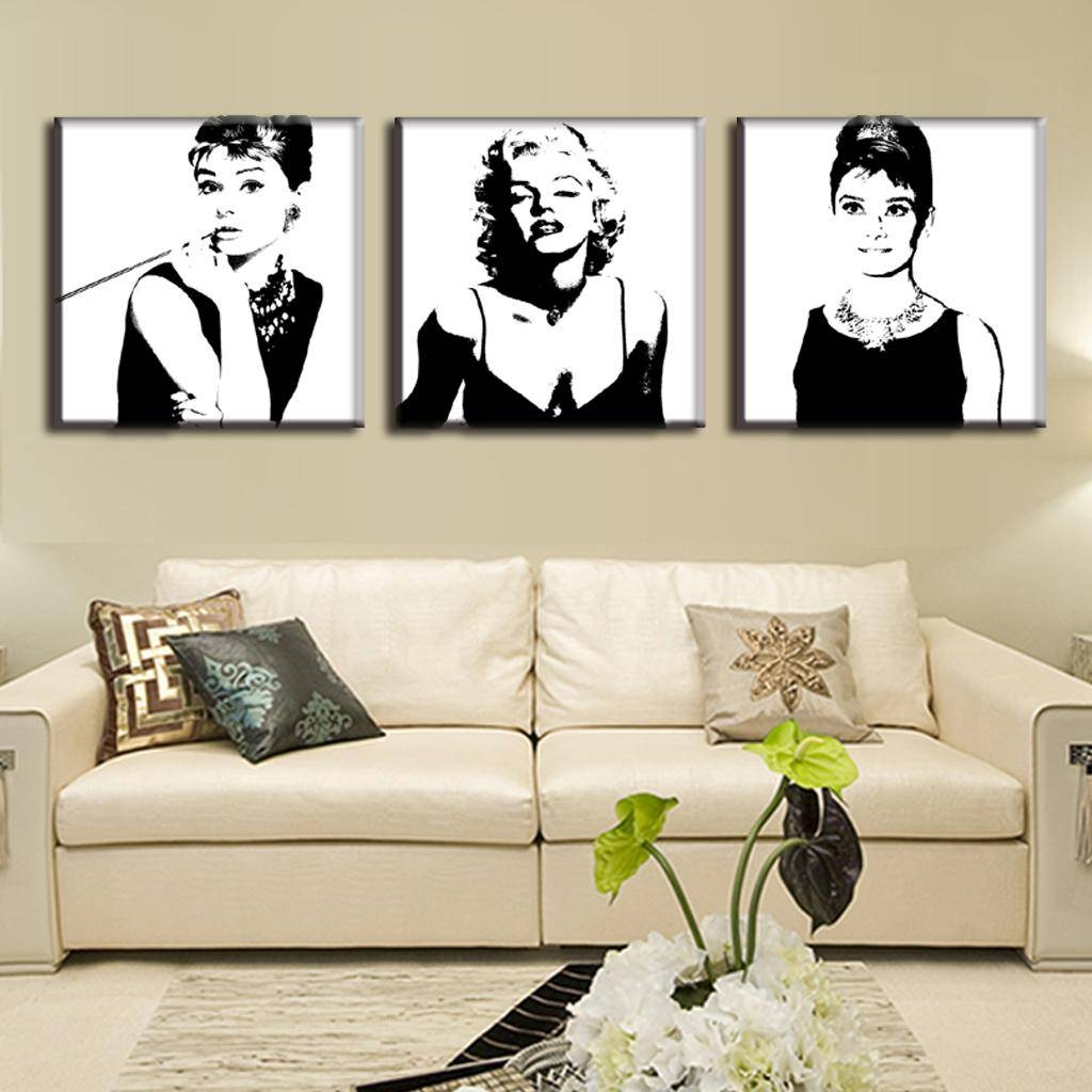 Aliexpress : Buy 3 Pcs/set Framed Vintage Poster Portrait Oil Inside Recent Marilyn Monroe Wall Art (View 2 of 25)