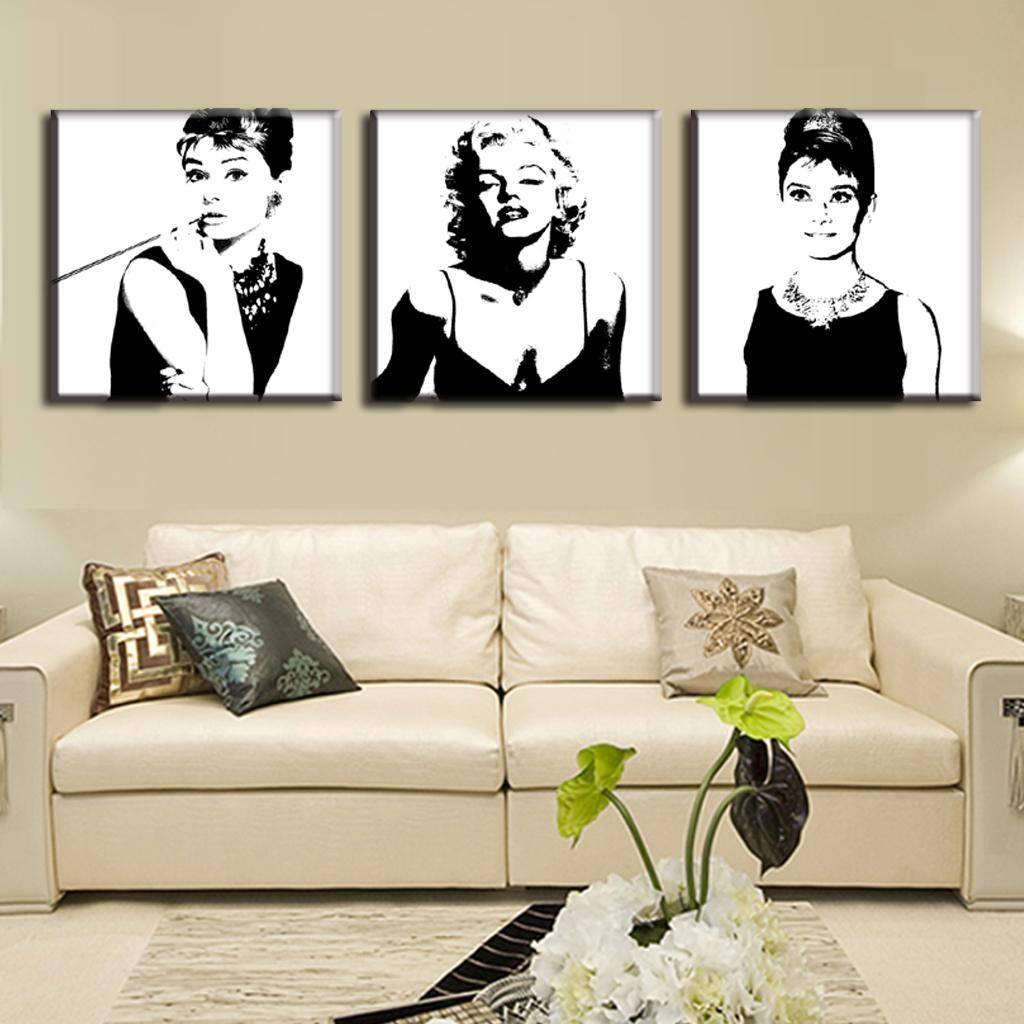 Aliexpress : Buy 3 Pcs/set Framed Vintage Poster Portrait Oil Inside Recent Marilyn Monroe Wall Art (View 18 of 25)