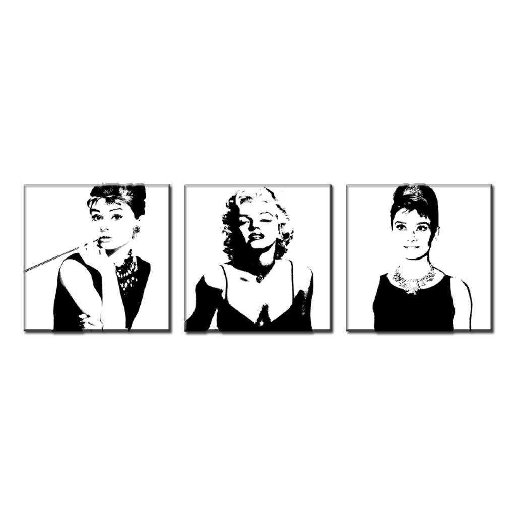 Aliexpress : Buy 3 Pcs/set Framed Vintage Poster Portrait Oil Intended For Most Up To Date Marilyn Monroe Black And White Wall Art (View 7 of 15)