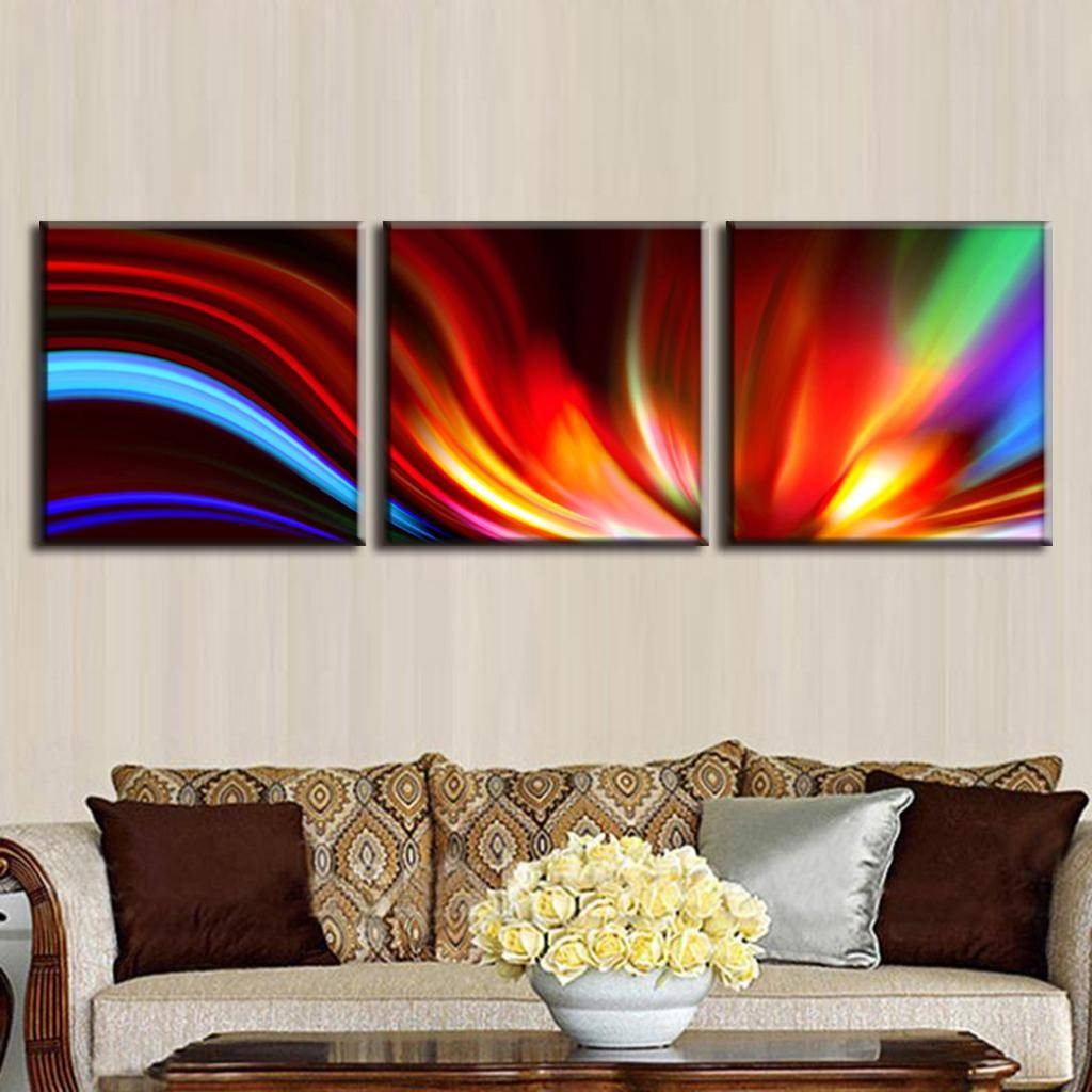 Aliexpress : Buy 3 Pcs/set Modern Abstract Painting With Frame Throughout Most Popular 3 Set Canvas Wall Art (View 7 of 20)