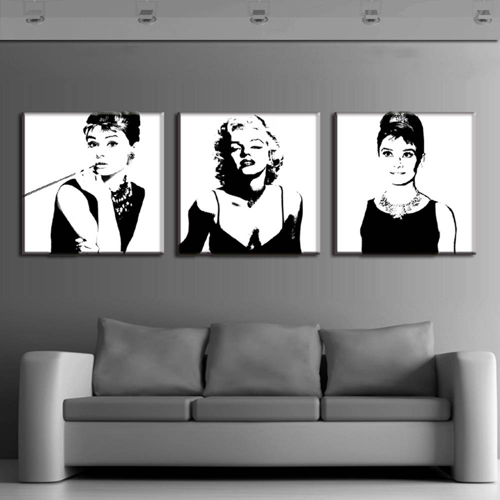 Aliexpress : Buy 3 Pcs Vintage Poster Portrait Oil Painting For Newest Marilyn Monroe Framed Wall Art (View 3 of 22)