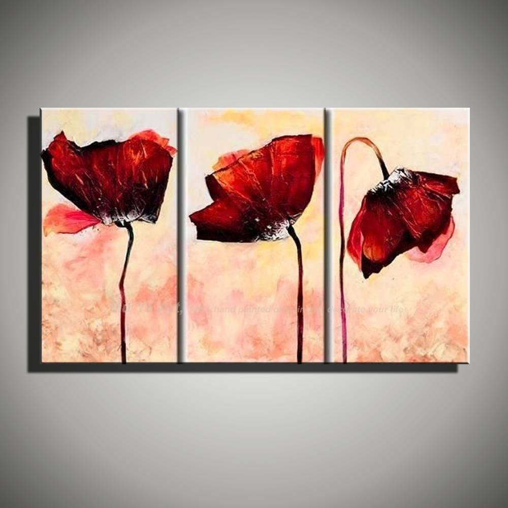 Aliexpress : Buy 3 Piece Abstract Modern Handmade Flower Art With Regard To Most Up To Date Red Poppy Canvas Wall Art (View 10 of 20)