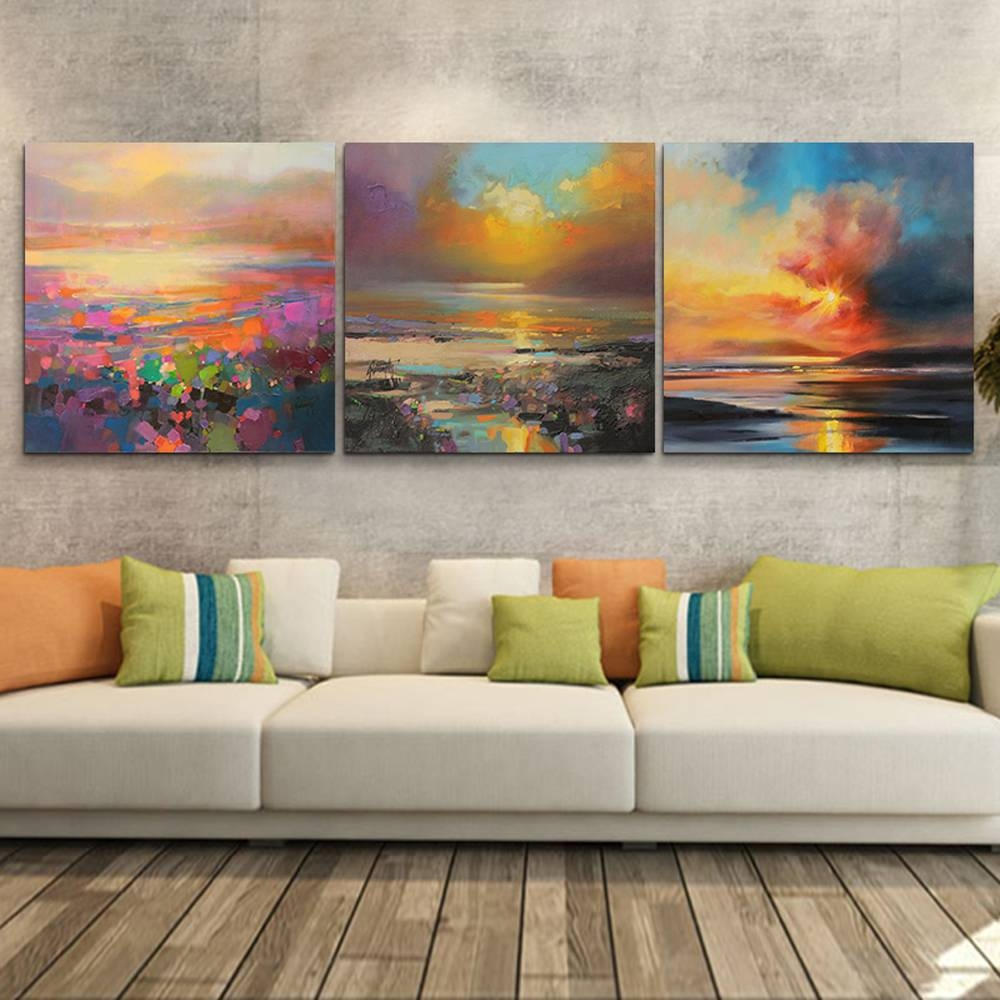 Aliexpress : Buy 3 Piece Abstract Wall Art Canvas Sunset Beach Regarding 2017 3 Piece Abstract Wall Art (Gallery 4 of 16)