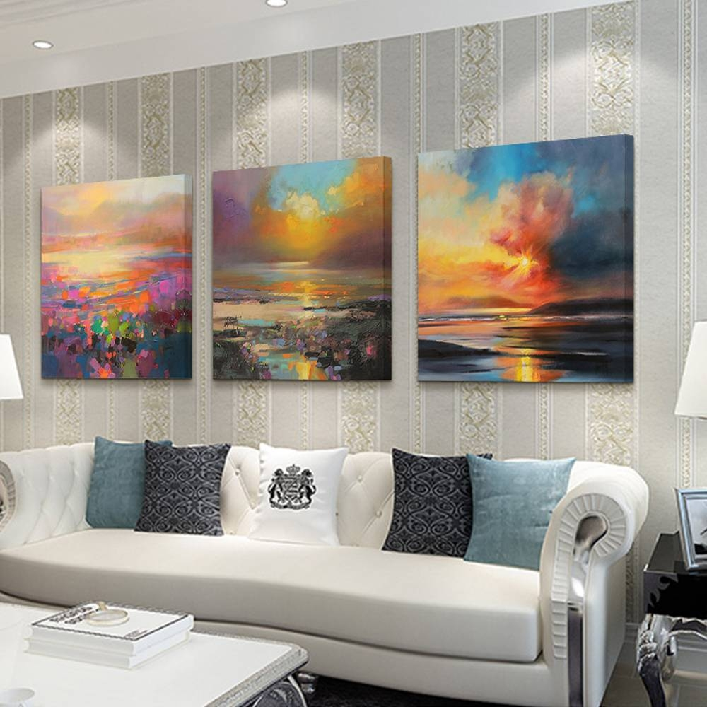 Aliexpress : Buy 3 Piece Abstract Wall Art Canvas Sunset Beach With Regard To Recent 3 Piece Abstract Wall Art (Gallery 12 of 16)