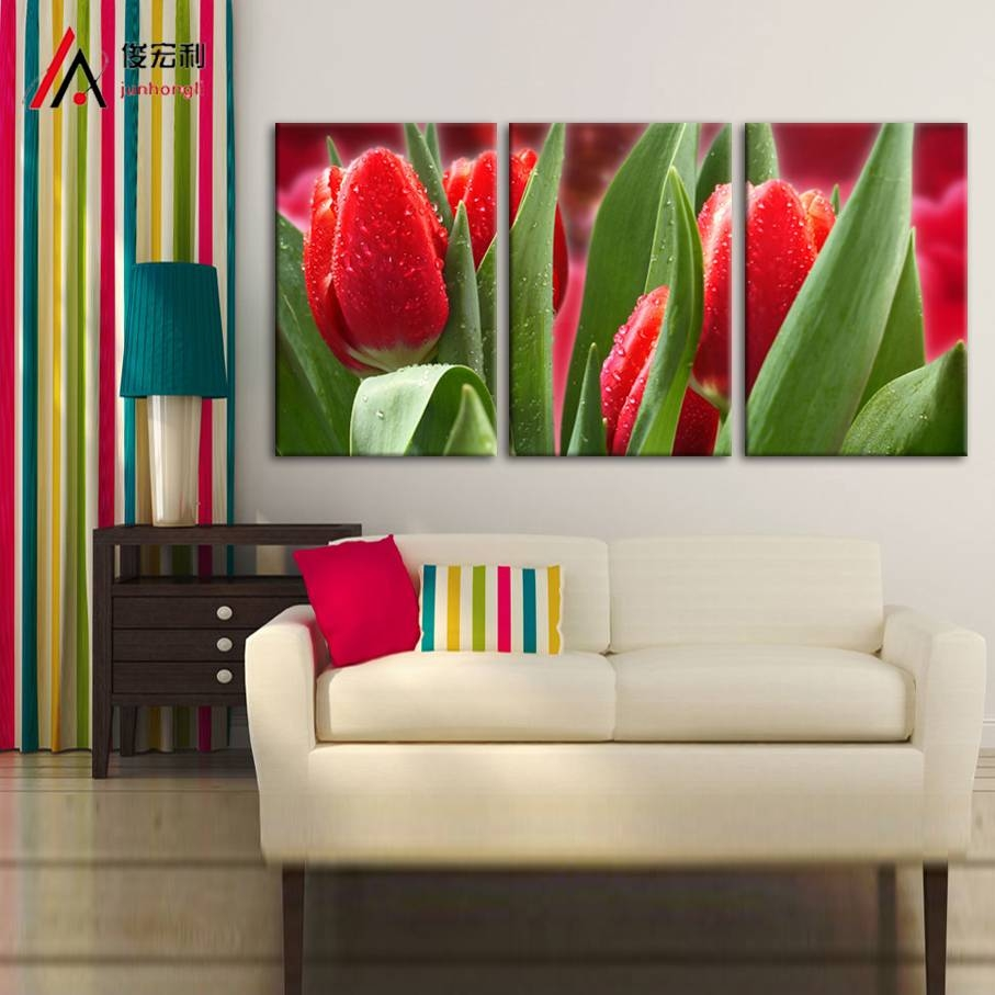 Aliexpress : Buy 3 Piece Modular Picture Definition Red Tulips Throughout Latest Modular Wall Art (View 22 of 25)