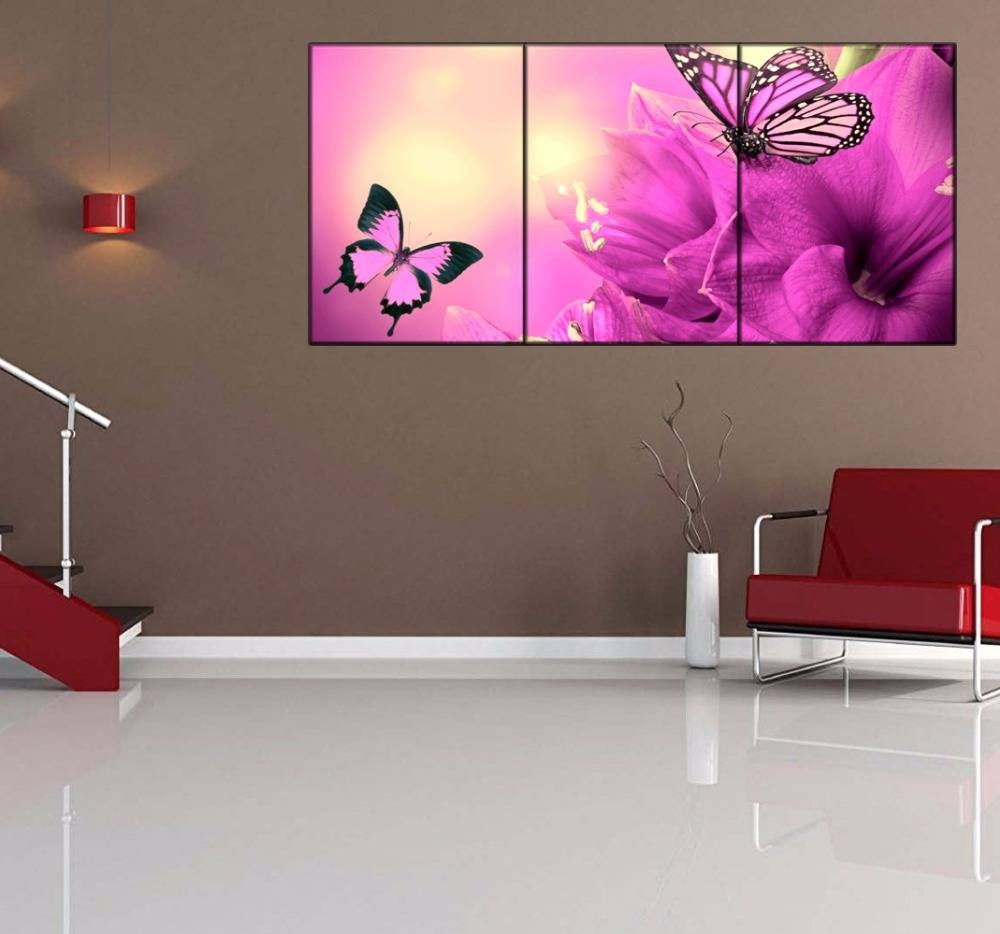 Aliexpress : Buy 3 Piece Purple Flowers Butterflies Canvas For 2017 Butterfly Canvas Wall Art (View 2 of 20)