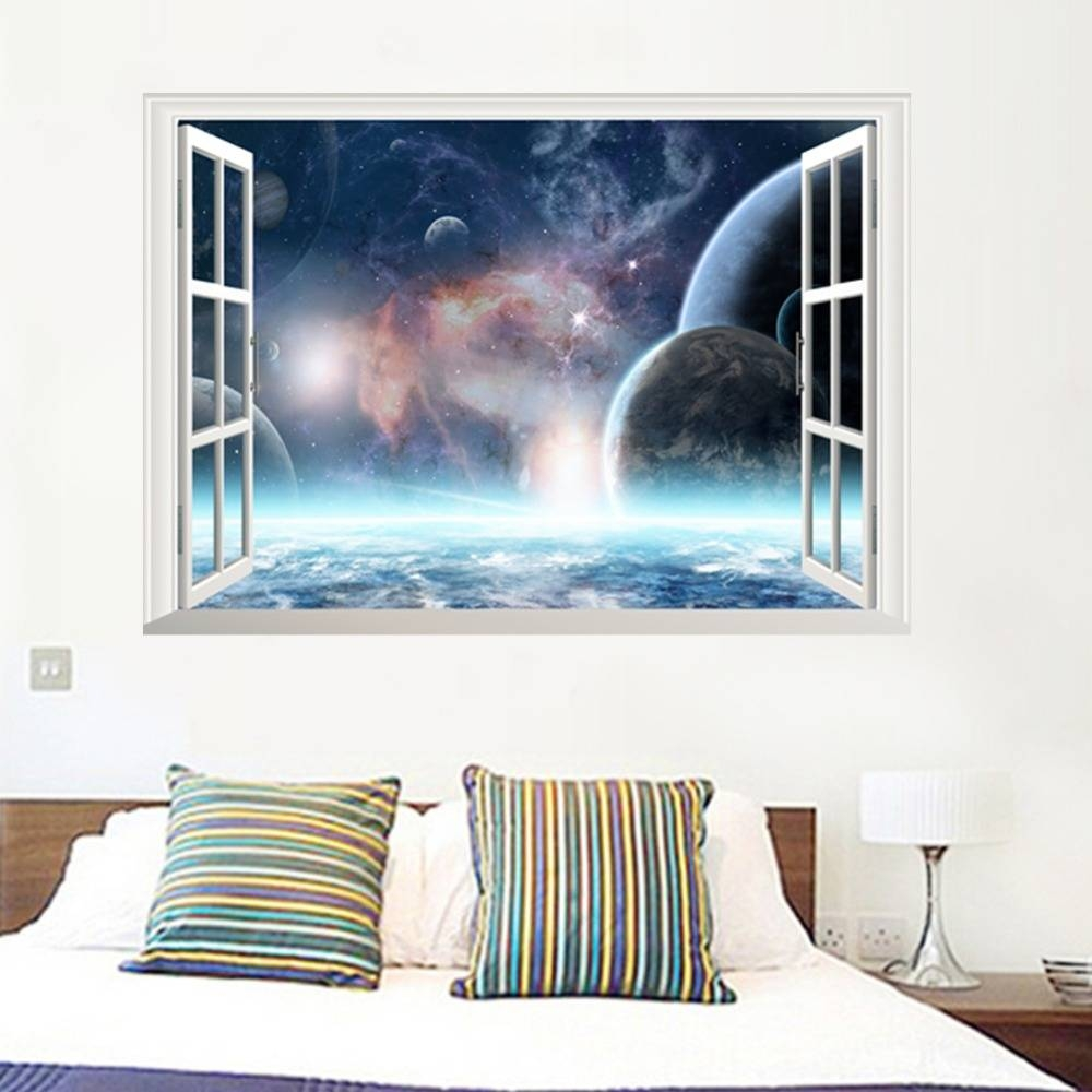 Aliexpress : Buy 3D Galaxy Wall Sticker Outer Space Planet Inside Latest Outer Space Wall Art (View 5 of 25)