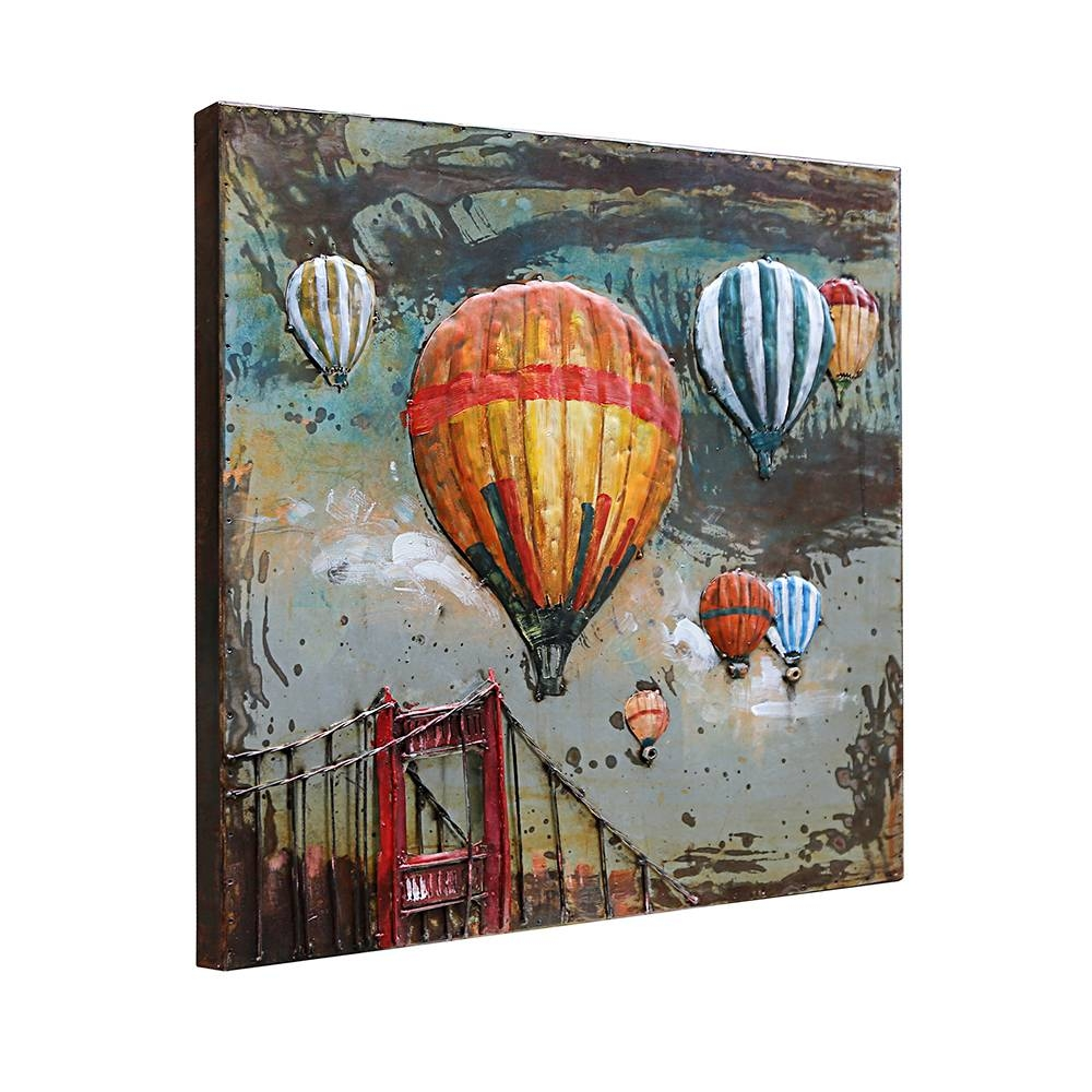 Aliexpress : Buy 3d Metal Art 100% Handmade Metal Unique Wall With Regard To Current Air Balloon 3d Wall Art (View 15 of 20)