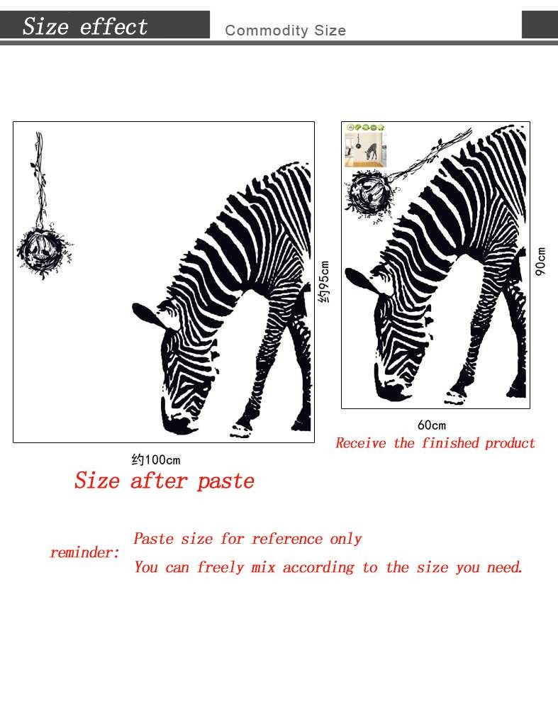 Aliexpress : Buy 3d Wall Sticker Zebra Wallpaper Living Room Intended For Most Recent Zebra 3d Wall Art (View 15 of 20)