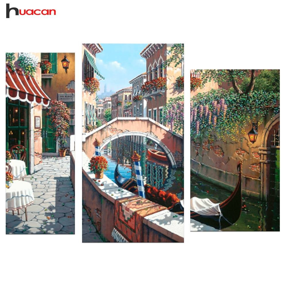 Aliexpress : Buy 3Pcs Diy 5D Scenic Diamond Painting Cross Regarding Recent Mosaic Wall Art Kits (View 2 of 20)
