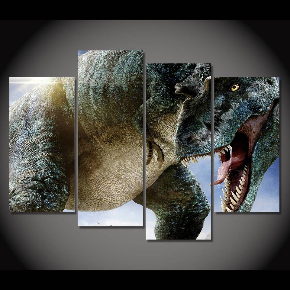 Aliexpress : Buy 4 Panel Canvas Art Canvas Painting Dinosaur With Regard To Latest Dinosaur Canvas Wall Art (View 2 of 15)