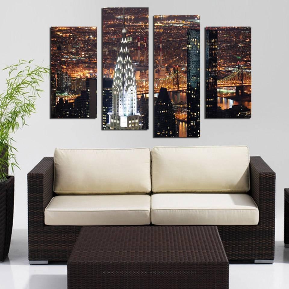 Aliexpress : Buy 4 Piece Wall Art New York Manhattan Usa With Regarding 2017 4 Piece Wall Art (View 13 of 15)