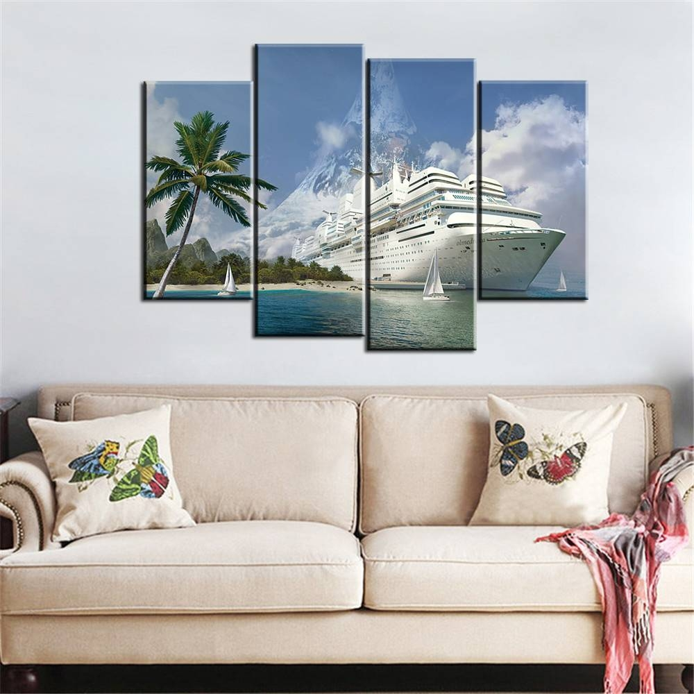 Aliexpress : Buy 4 Pieces Boat Canvas Art Landscape Painting Intended For Most Popular Modular Wall Art (View 10 of 25)