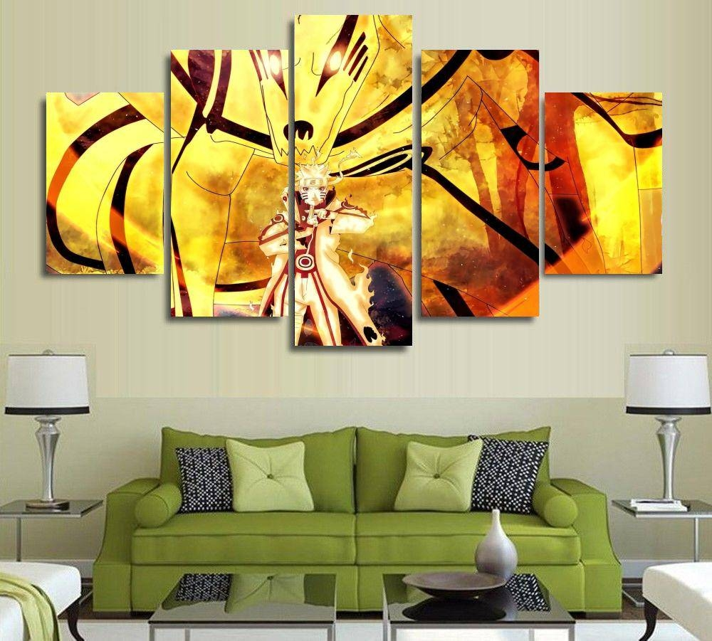 Aliexpress : Buy 5 Panels Modern Anime Painting And Prints Regarding Best And Newest Japanese Wall Art Panels (View 25 of 25)