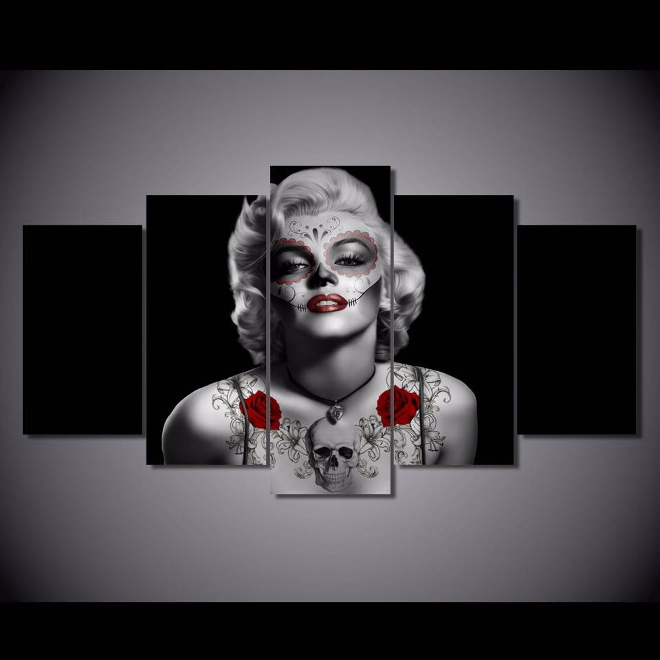Aliexpress : Buy 5 Pcs/set Framed Hd Printed Day Of The Dead For Most Recent Marilyn Monroe Framed Wall Art (View 4 of 22)
