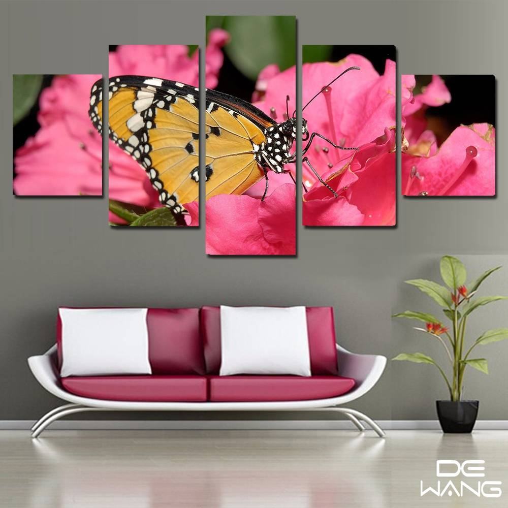 Aliexpress : Buy 5 Pieces Canvas Wall Art Pink Modular Inside Latest Butterfly Canvas Wall Art (View 10 of 20)