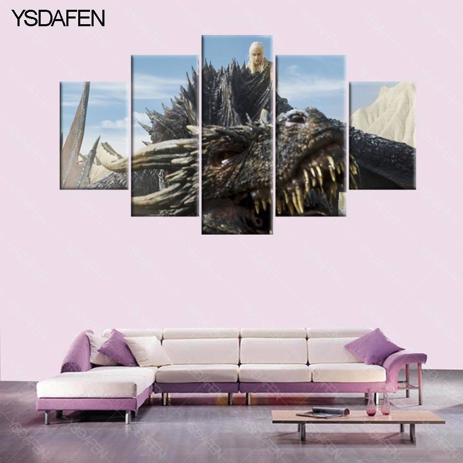 Aliexpress : Buy 5 Pieces Hd Print Game Of Thrones Dani Lisi Intended For Most Recent Wall Art Multiple Pieces (View 5 of 20)