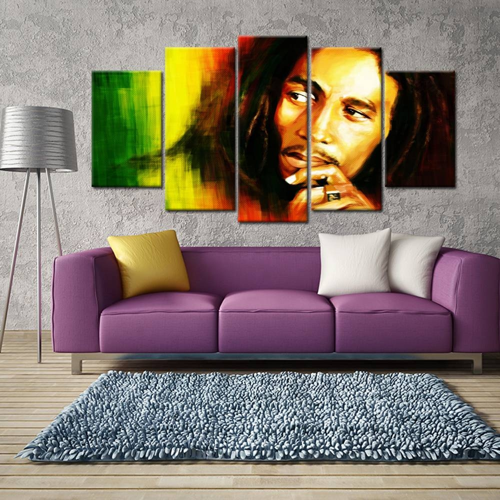 Aliexpress : Buy 5 Pieces Hd Printed Bob Marley Canvas Intended For Most Recently Released Bob Marley Canvas Wall Art (View 2 of 25)
