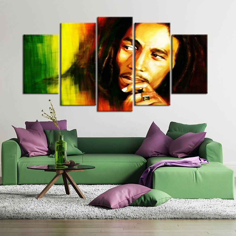 Aliexpress : Buy 5 Pieces Hd Printed Bob Marley Canvas Throughout Most Current Bob Marley Canvas Wall Art (View 3 of 25)