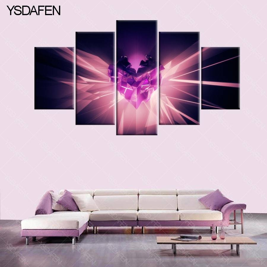 Aliexpress : Buy 5 Pieces/set Canvas Print Abstract Heart In Latest Purple Wall Art Canvas (View 2 of 20)